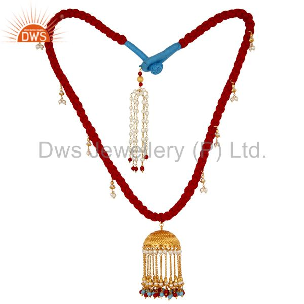 Indian Traditional White Pearl Coral and Turquoise 18K Gold Plated Necklace