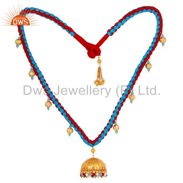 Turquoise Coral and White Pearl Indian Traditional 18K Gold Plated Necklace