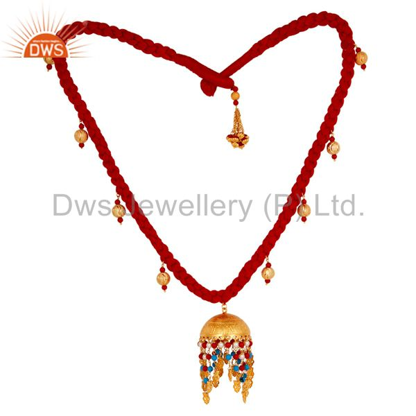 18K Gold Plated Turquoise Coral and White Pearl Indian Handcrafted Necklace
