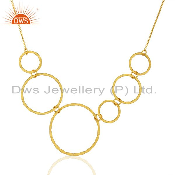 Handmade Gold Plated Brass Womens Fashion Necklace Jewelry Wholesale
