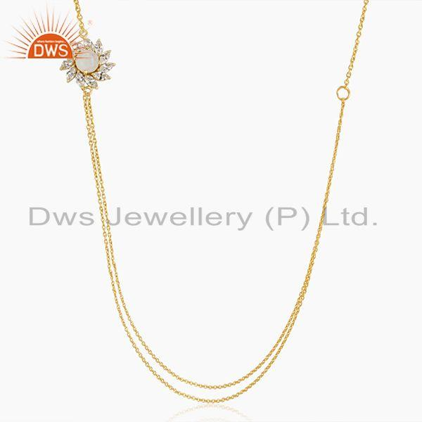 14k Gold Plated Brass Floral Design Moonstone 18inch Chain Necklace Wholesale