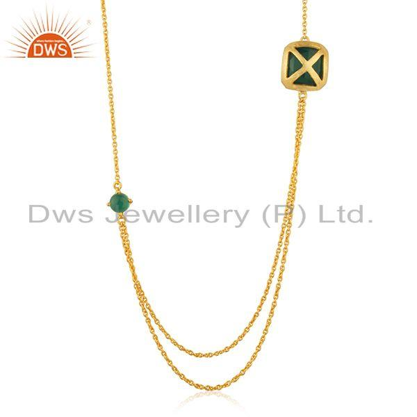 Handmade Brass Yellow Gold Plated Green Gemstone Chain Necklace Wholesale