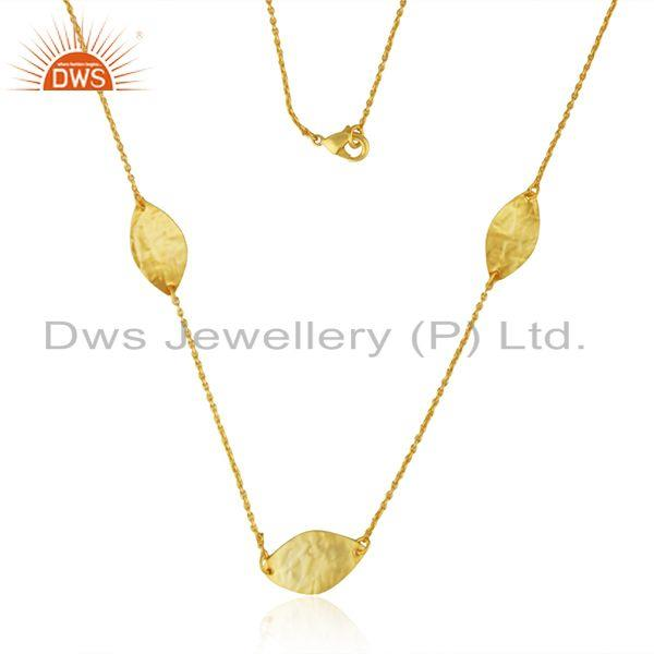 New Yellow Plated Designer Brass Fashion Chain Necklace Jewelry Supplier