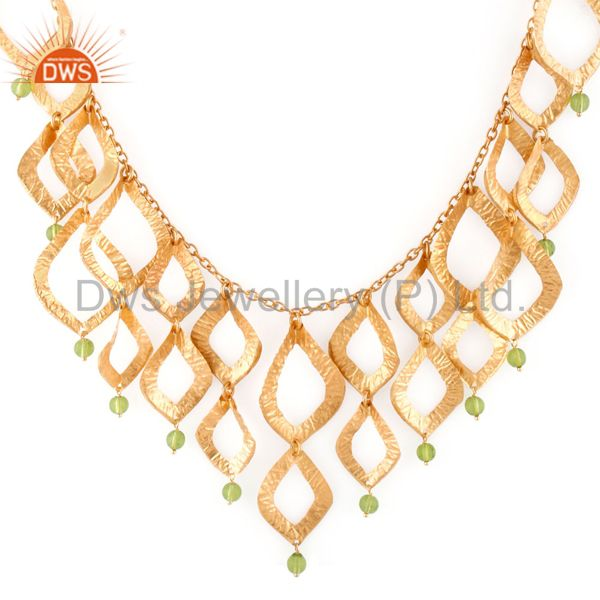 18K Gold Plated Brass Cutout Leaf Design Green Peridot Glass Fashion Necklace