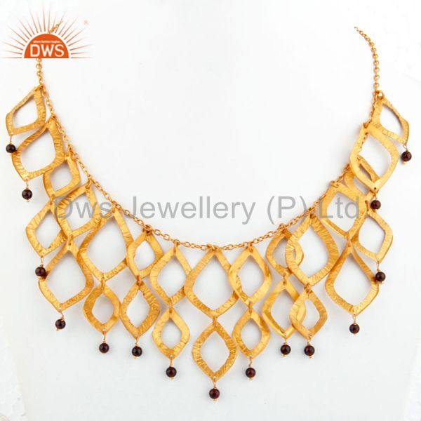 Natural Garnet Beads With 18k Yellow Gold Plated Chandelier Fashion Necklace
