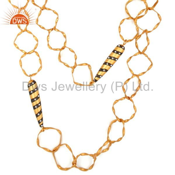 Unique Handmade 18K Gold Plated Cubic Zirconia Fashion Link Chain Necklace
