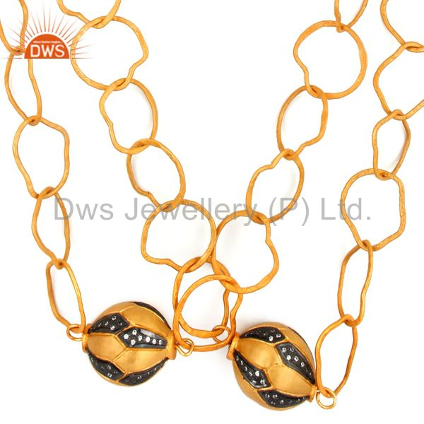Hand Hammered chain 18K Gold Plated Link Necklaces With White Zircon Finding