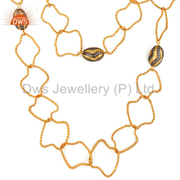 Handmade 22K Yellow Gold Vermeil Double Twisted Link Chain CZ Findings Necklace