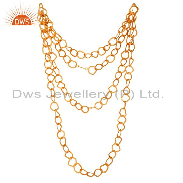 18K Yellow Gold Plated Handmade Link Chain Necklace Jewelry