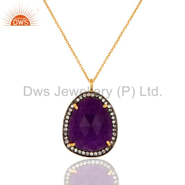 Purple Aventurine Gemstone 18K Yellow Gold Plated Pendant Chain With CZ