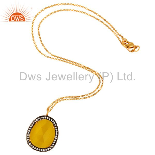 Moonstone & White Zircon18K Yellow Gold Plated Fashion Pendant With Chain