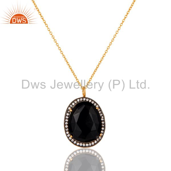 22K Yellow Gold Plated Black Onyx and Cubic Zirconia Pendant With Chain