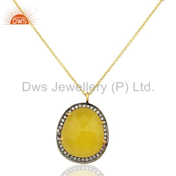 Yellow Chalcedony Gemstone CZ Gold Plated 925 Silver Chain Pendant