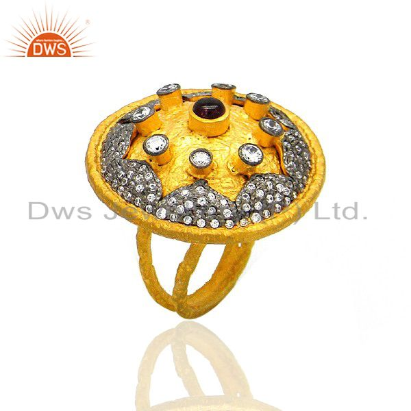22K Yellow Gold Plated Brass Pink Glass And Cubic Zirconia Antique Cocktail Ring