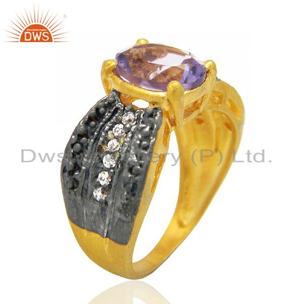 22K Yellow Gold Plated Brass Amethyst And Cubic Zirconia Fashion Ring