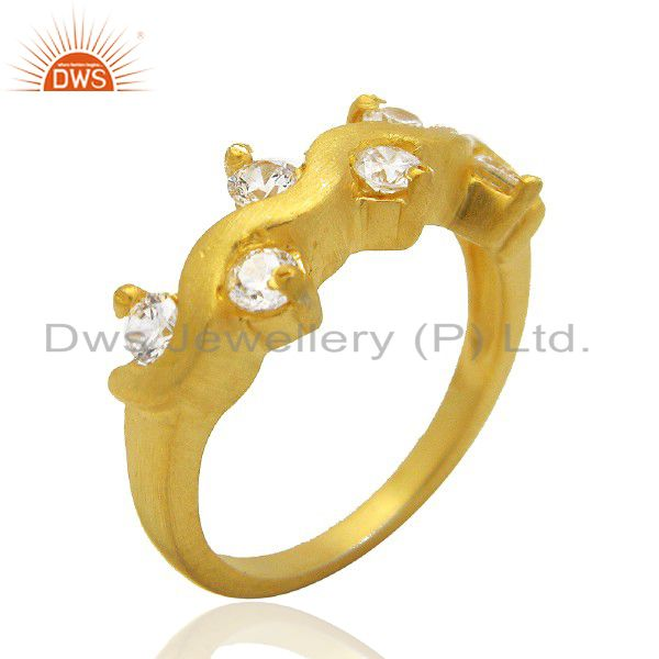 22K Yellow Gold Plated Brass White Cubic Zirconia Prong Set Fashion Ring