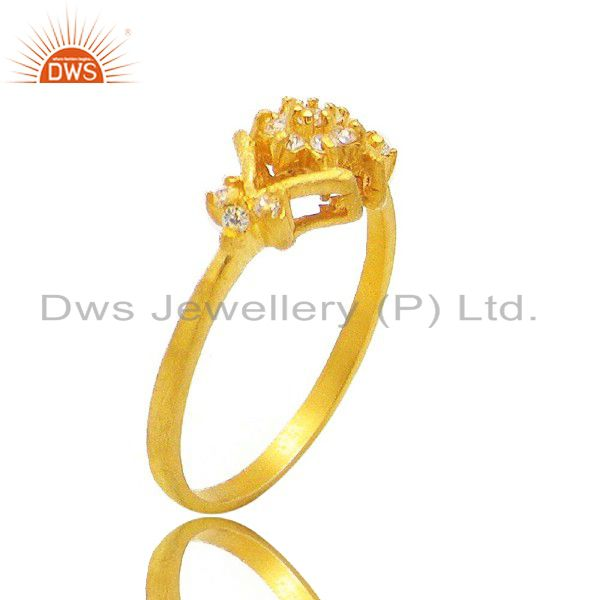 18K Yellow Gold Plated White Cubic Zirconia Wedding Engagement Fashion Ring