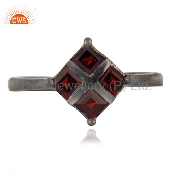 Glamorous Natural Gems Square Red Garnet Solid Brass Over Rhodium Plated Jewelry