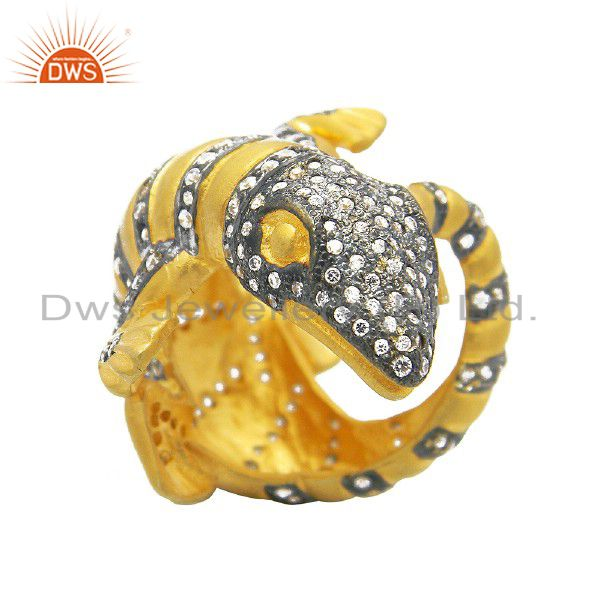 18K Yellow Gold Plated Brass White Cubic Zirconia Vintage Look Lizard Ring