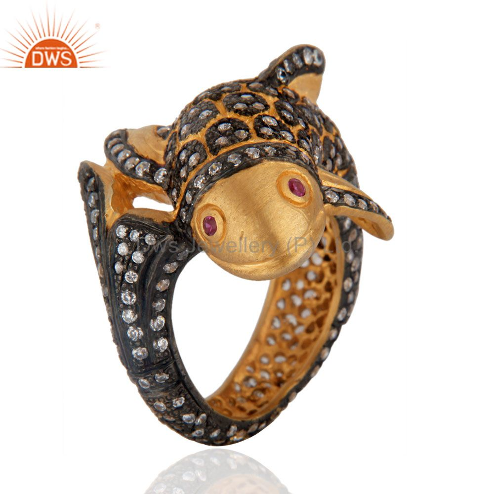 Beautiful Cute Fish Designer Simulated Diamond Fashion Ring With 18K Gold Plated