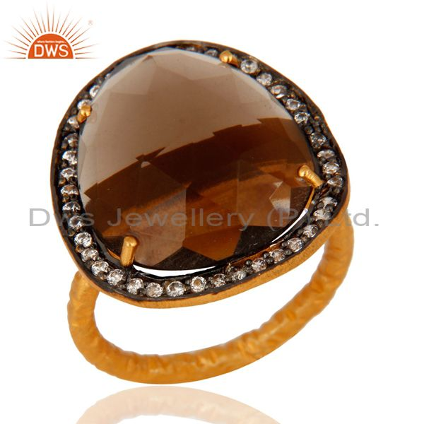 Designer Smokey Quartz and CZ 18K Yellow Gold Plated Ring
