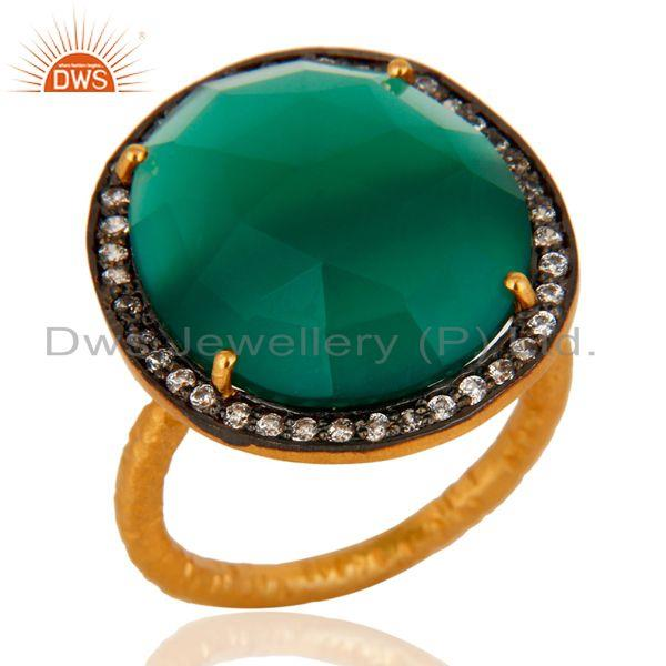 Natural Faceted Green Onyx Gemstone Prong Set 22k Gold Plated Ring With CZ