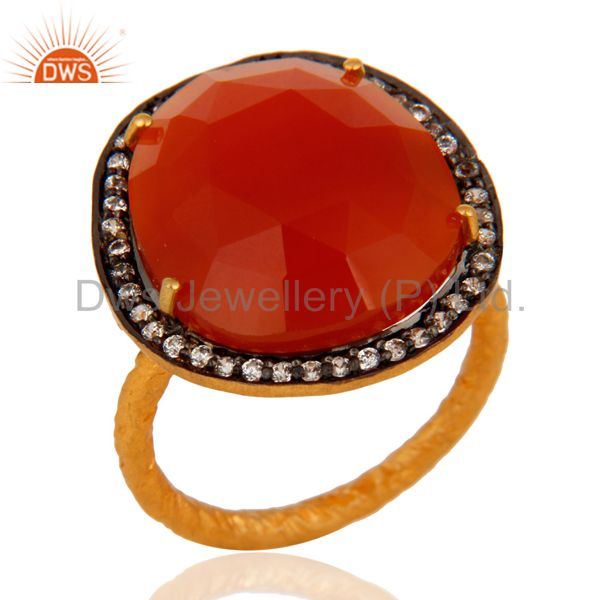 Handmade 22K Yellow Gold Vermeil Natural Red Onyx Faceted Gemstone Ring With CZ