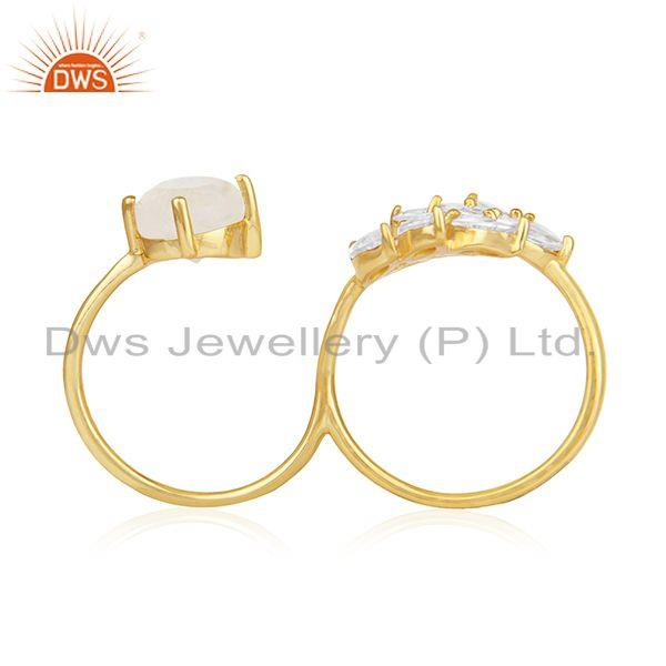 Fashion Multi Gemstone Gold Plated Brass Double Finger Fashion Ring Manufacturer