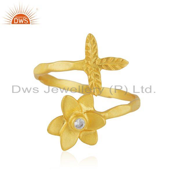 Handmade Leaf Floral Gold Plated Brass Fashion Ring Jewelry Supplier
