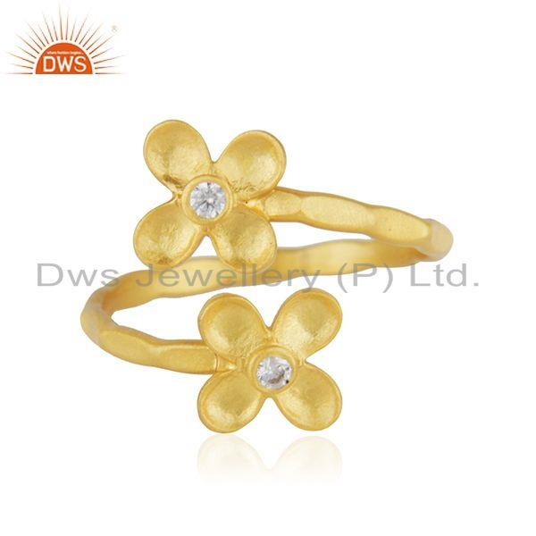 Floral Yellow Gold Plated Designer Brass Fashion Ring Jewelry