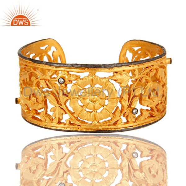 18K Yellow Gold Plated Brass Flower Filigree Wide Cuff Bracelet With CZ