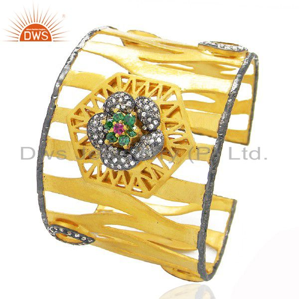 22K Yellow Gold Plated Brass Multi CZ Designer Cuff Bracelet Wide Bangle