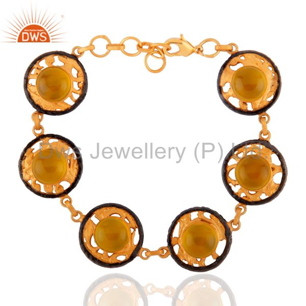 Dyed Yellow Chalcedony Gold Plated Brass Adjustable Bracelet Jewelry