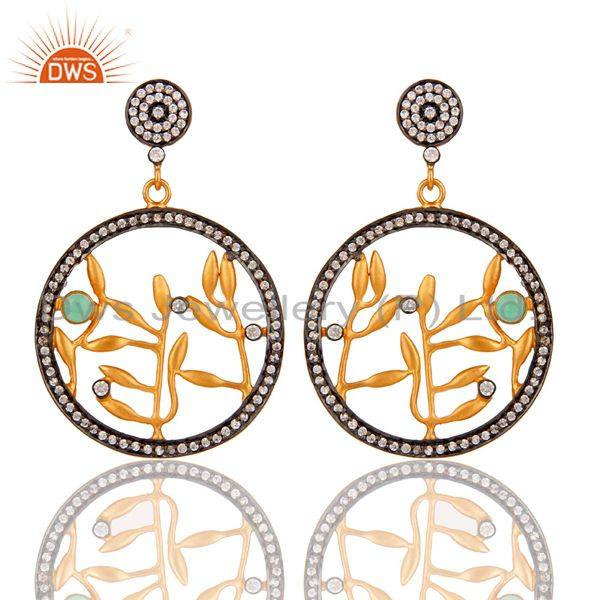 Handmade Pave Zircon 18 k Yellow Gold Plated Fashion Dangle Earrings