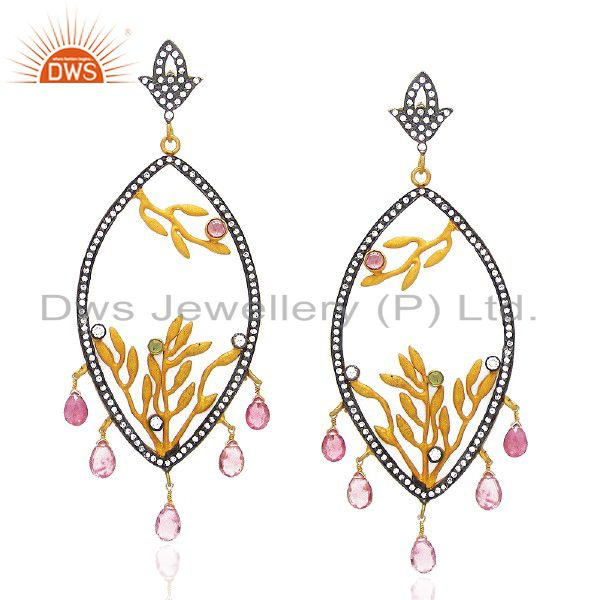 22K Yellow Gold Plated CZ And Green Tourmaline Designer Chandelier Earrings