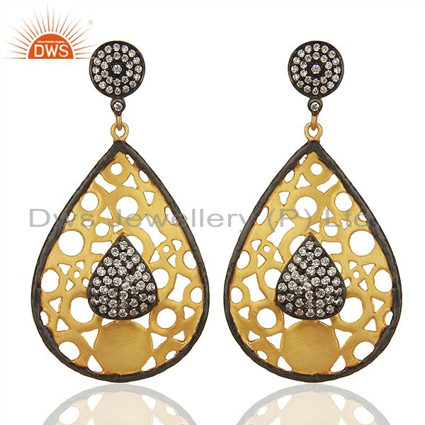 22K Yellow Gold Plated Brass Cubic Zirconia Dangle Earrings For Womens