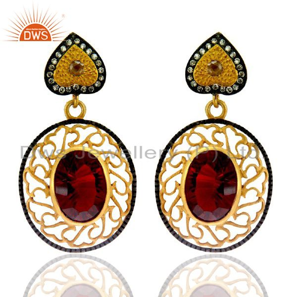 22K Yellow Gold Plated Brass Red Ruby Glass And CZ Designer Dangle Earrings