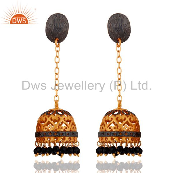 22k Gold Plated Black Onyx Gemstone Indian Traditional Designer Jhumka Earrings