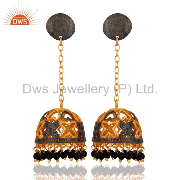 Bollywood Traditional Wedding Jewelry 18K Gold Plated Black Onyx Jhumka Earrings
