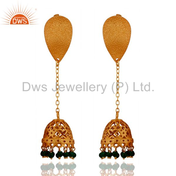 24k Gold Over 925 Sterling Silver Green Onyx Beads Stone Fashion Dangle Earrings