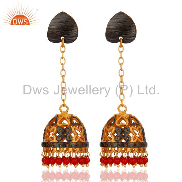 24-Karat Gold Plated Red Coral Indian Traditional Earring Jewelry For Womens