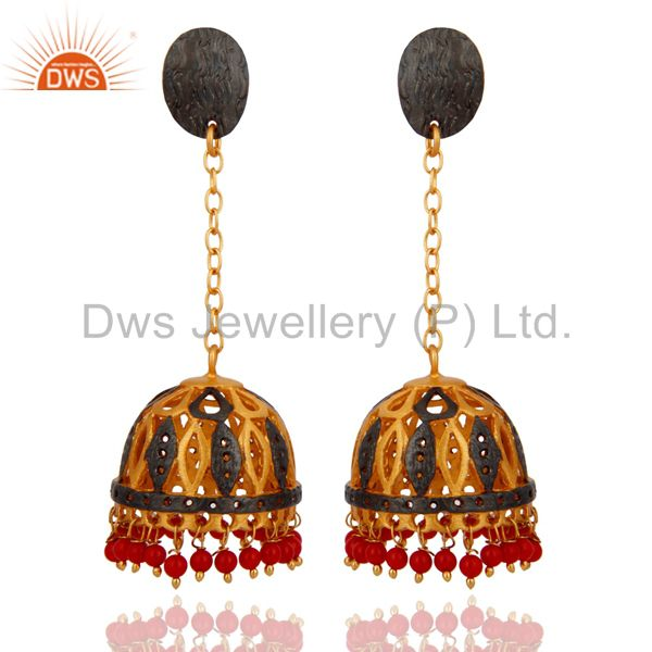 Natural Red Coral Gemstone 18K Gold Plated Designer Dangler Earring Gift Jewelry