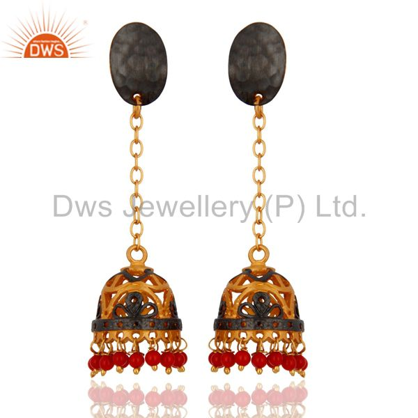 Designer 18K Yellow Gold Plated Coral Gemstone Beads Female Earring Jewelry