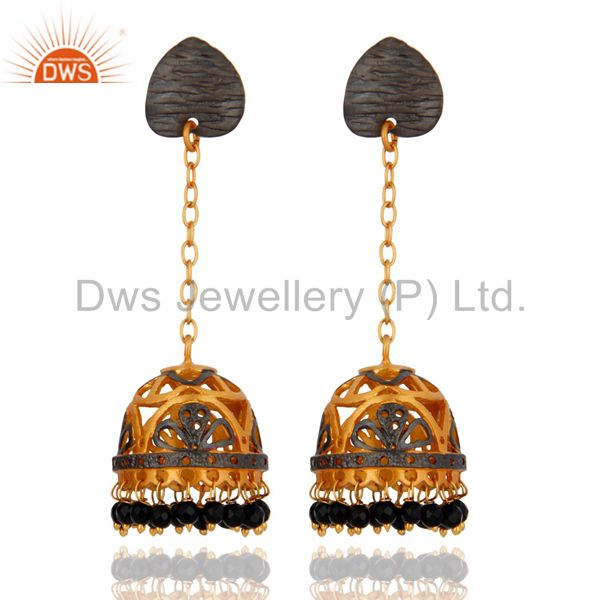 Indian 18K Yellow Gold Plated Onyx Black Beaded Jhumka Earring Fashion Jewelry