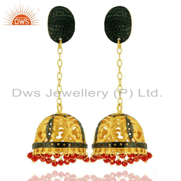 Unique Designer Coral 18K Gold Plated Chain Dangle Earring Cheap Fashion Jewelry