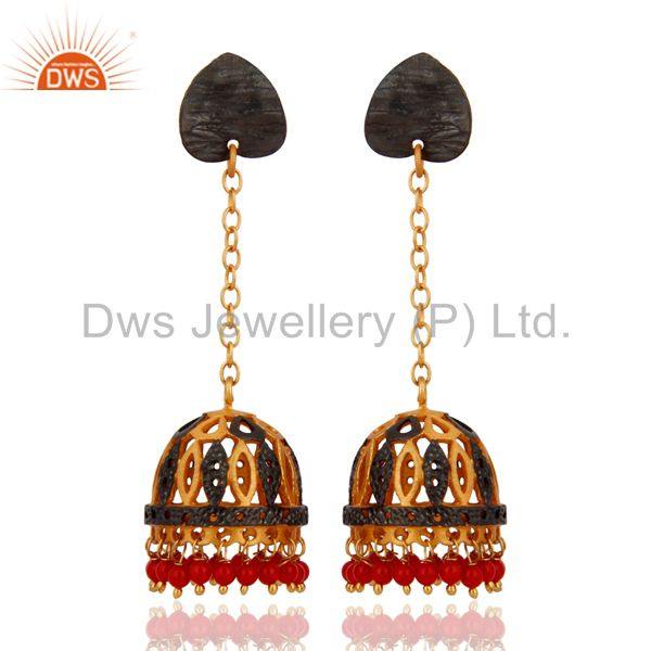 18K Gold Plated Red Coral Gemstone Jhumka Earring Ethnic Fashion Designs Jewelry