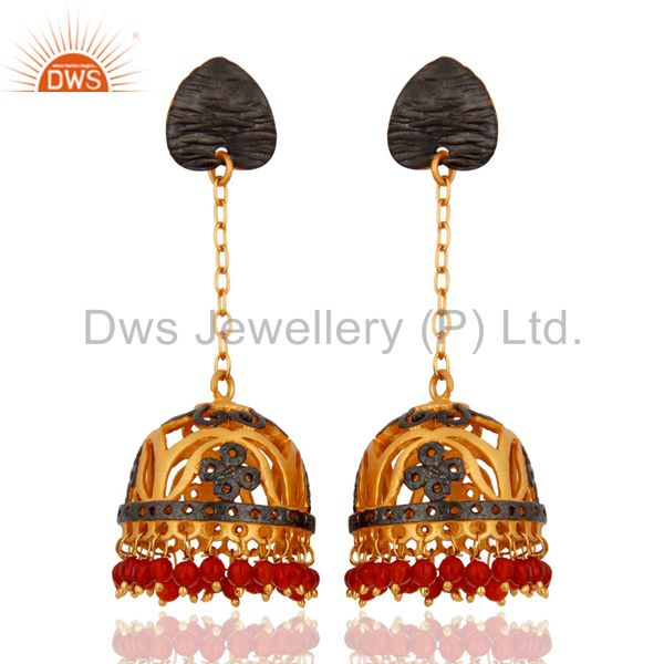 Red Onyx Gemstone Stunning 18k Yellow Gold Plated Earring Indian Wedding Jewelr