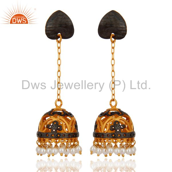 Natural White Pearl Bead 18K Yellow Gold Plated Designer Dangle Jhumka Earrings