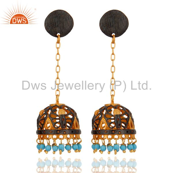Genuine Turquoise Beads Long Chains Dangle Earrings 18k Gold Filled Jewelry