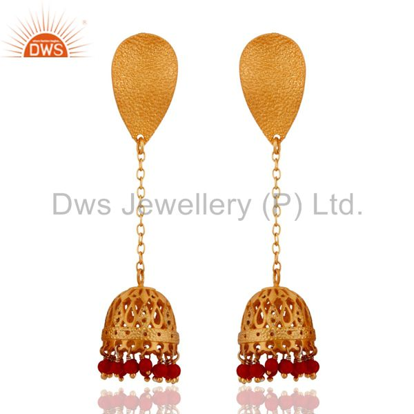 Handcrafted 925 Sterling Silver Gold Plated Red Coral Unique Designer Earrings